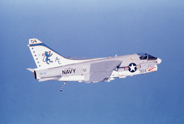 An air-to-air right side view of an Attack Squadron 15 (VA-15) A-7E Corsair II aircraft from the aircraft carrier USS AMERICA (CV 66)