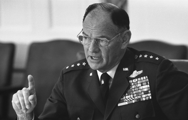 Photograph of Chairman of the Joint Chiefs of Staff General George S. Brown Making a Point during a Meeting to Discuss the Situation in Lebanon