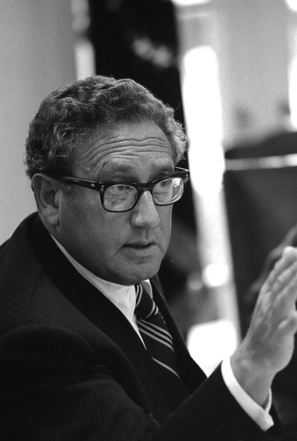 Photograph of Secretary of State Henry Kissinger Making a Point during a Meeting to Discuss the Situation in Lebanon