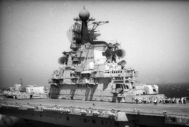 A port side view of the Soviet aircraft carrier KIEV (CVHG)