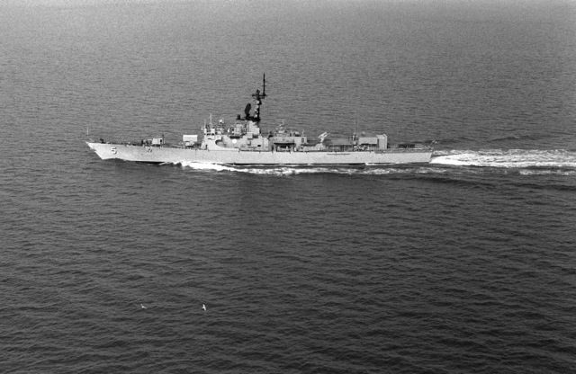 Aerial port beam view of the Brooke class guided missile frigate USS RICHARD L. PAGE (FFG 5) underway off Hampton Roads, Virginia