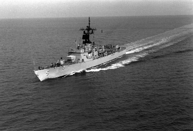 Aerial port bow view of the Brooke class guided missile frigate USS RICHARD L. PAGE (FFG-5) underway off Hampton Roads, Virginia