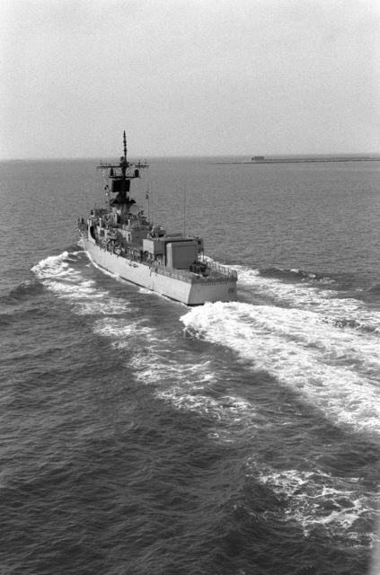 Aerial port quarter view of the Brooke class guided missile frigate USS RICHARD L. PAGE (FFG 5) underway off Hampton Roads, Virginia