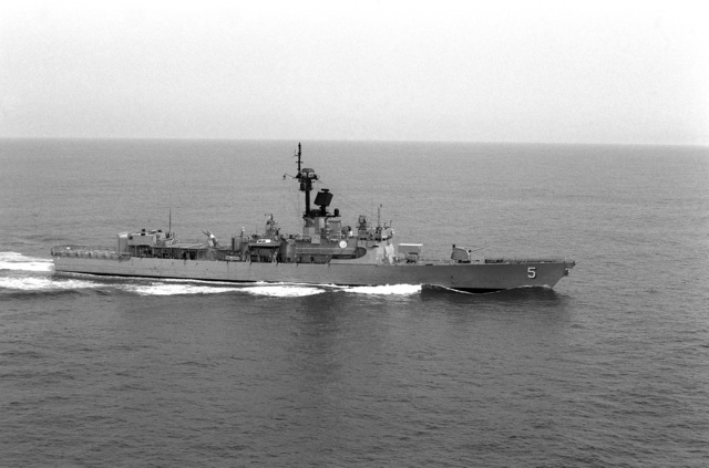 Aerial starboard beam view of the Brooke class guided missile frigate USS RICHARD L. PAGE (FFG 5) underway off Hampton Roads, Virginia