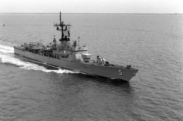 Aerial starboard bow view of the Brooke class guided missile frigate USS RICHARD L. PAGE (FFG 5) underway off Hampton Roads, Virginia