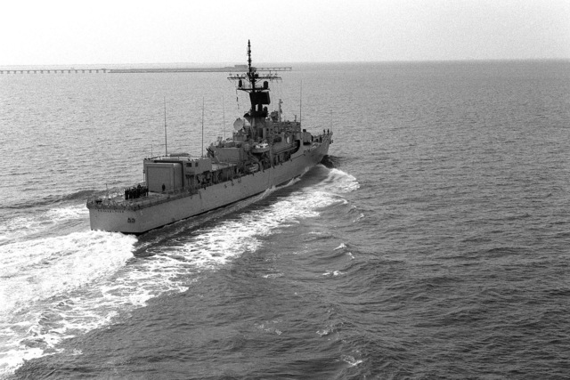 Aerial starboard quarter view of the Brooke class guided missile frigate USS RICHARD L. PAGE (FFG 5) underway off Hampton Roads, Virginia