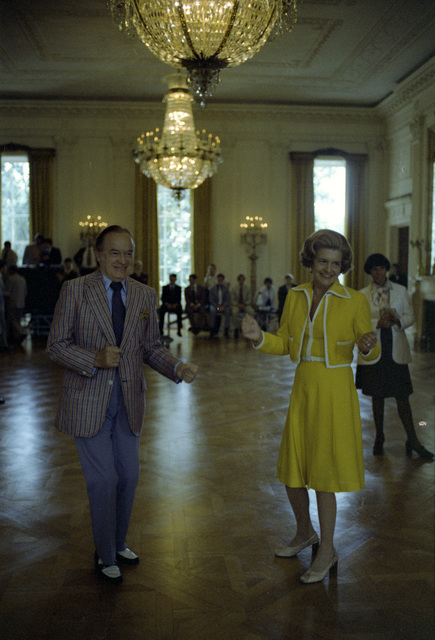 Photograph of First Lady Betty Ford and Entertainer Bob Hope Dancing in the East Room during Preparations for a State Dinner Honoring Queen Elizabeth II