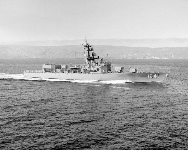 A starboard view of the frigate USS BRADLEY (FF 1041) underway off San Clemente Island