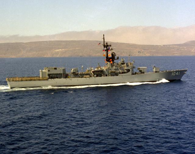 An aerial starboard beam view of the frigate USS BRADLEY (FF-1041) underway near San Clemente Island