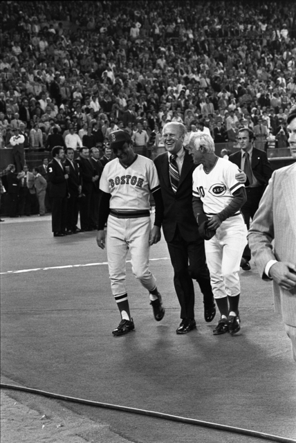 "President Gerald R. Ford Walking with Boston Red Sox Manager Darrell Johnson and Cincinnati Reds Manager George ""Sparky"" Anderson Prior to the Major League Baseball All-Star Game at Veterans Memorial Stadium in Philadelphia, Pennsylvania"