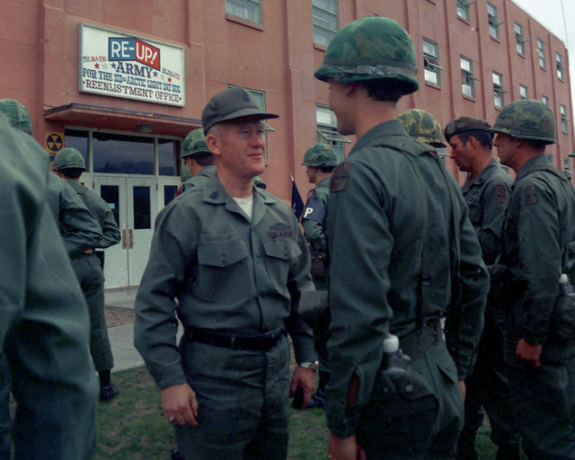CSM of the Army William G. Bainbridge inspects troops of the 172nd Infantry Brigade during a visit to the base