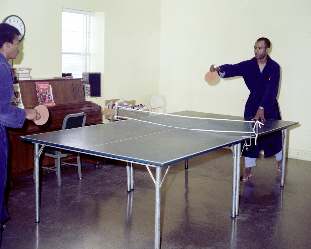 Patients at Darnall Army Hospital play table tennis in a recreation area provided by the Red Cross