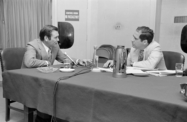 The Honorable Donald H. Rumsfeld (left), U.S. Secretary of Defense, is interviewed by Mr. Vic Rattner, ABC Radio News, in the Pentagon Studio, Washington, D.C., Jul. 19, 1976.   (DoD photo by Ron Hall) (Released)