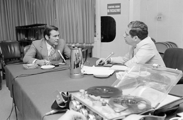 The Honorable Donald H. Rumsfeld (left), U.S. Secretary of Defense, is interviewed by Mr. Vic Rattner, ABC Radio News, in the Pentagon Studio, Washington, D.C., Jul. 19, 1976.  (DoD photo by Mr. Ron Hall) (Released)