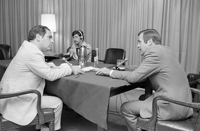 The Honorable Donald H. Rumsfeld (right), U.S. Secretary of Defense, is interviewed by Mr. Vic Rattner, ABC Radio News, in the Pentagon Studio, Washington, D.C., Jul. 19, 1976.   (DoD photo by Mr. Ron Hall) (Released)