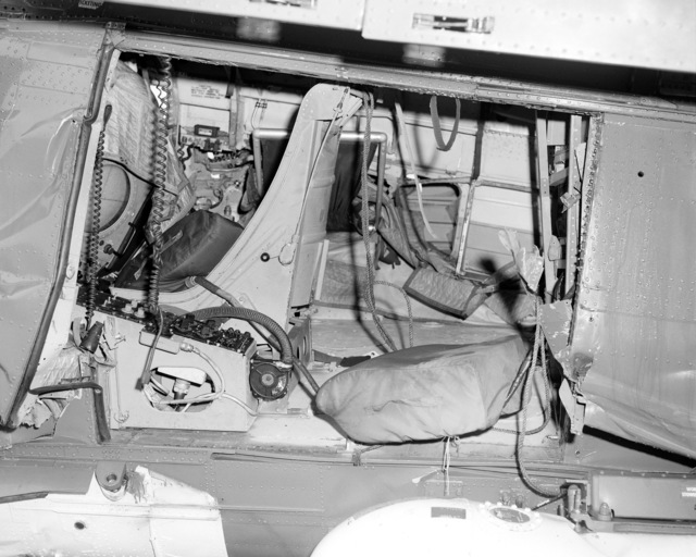 A view of the interior of an SH-2F Seasprite helicopter that crashed in San Diego Harbor. It is assigned to Light Helicopter Anti-submarine Squadron 33 (HSL-33)