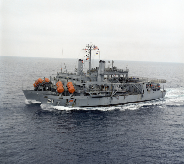 A port bow view of the submarine rescue ship USS PIGEON (ASR 21) underway off the Southern California coast