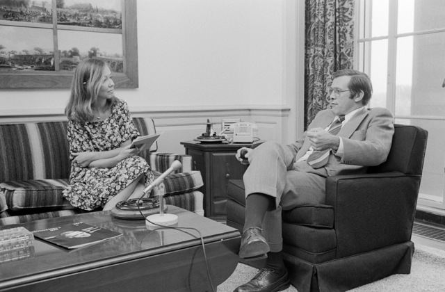 The Honorable Donald H. Rumsfeld (right), U.S. Secretary of Defense (SECDEF), is being interviewed by Nancy Raley (left), Georgetown Today, in the office of the SECDEF, Washington, D.C., Aug. 4, 1976.  OSD Package No. D-1998-OSD-76-080006 (PHOTO by Ron Hall) (Released)