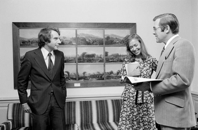 The Honorable Donald H. Rumsfeld (right), U.S. Secretary of Defense (SECDEF), stands next to Nancy Raley, Georgetown Today, in the office of the SECDEF, Washington, D.C., Aug. 4, 1976.  OSD Package No. D-1998-OSD-76-080006 (PHOTO by Ron Hall) (Released)