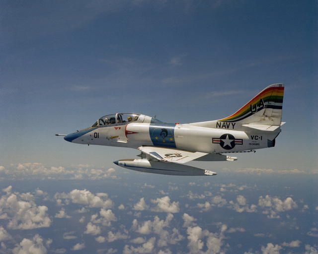 Air-to-air left view of a TA-4J Skyhawk aircraft from Fleet Composite Squadron 1 (VC-1) as it is piloted by CDR Davis, the squadron's executive officer