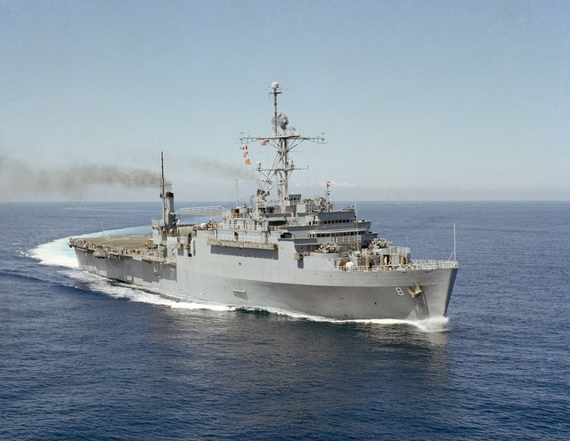 Port bow view of the amphibious transport dock USS DUBUQUE (LPD 8) underway during steering tests