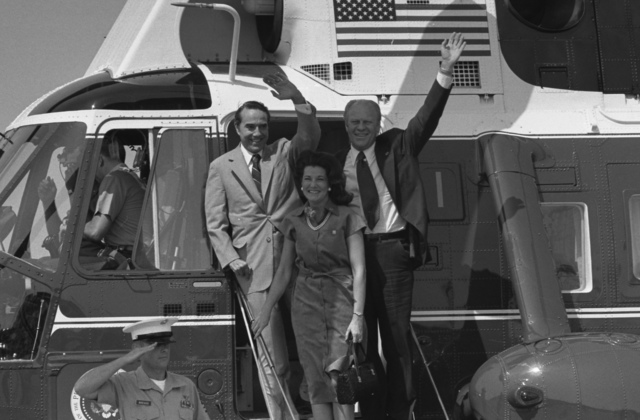 President Gerald Ford, Vice Presidential Running Mate Senator Robert Dole and Mrs. Elizabeth Dole Debark Marine I to Attend a Campaign Rally in the Senator's Hometown, Russell, Kansas
