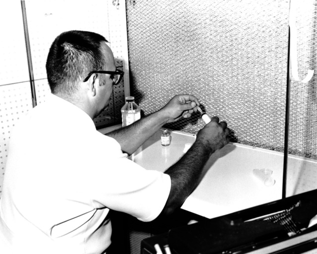 The pharmacy sterile products room where al sterile medications are prepared in the Laminar Air Flow Hood (clean air center) at the U.S. Army Hospital, Camp Kuwae