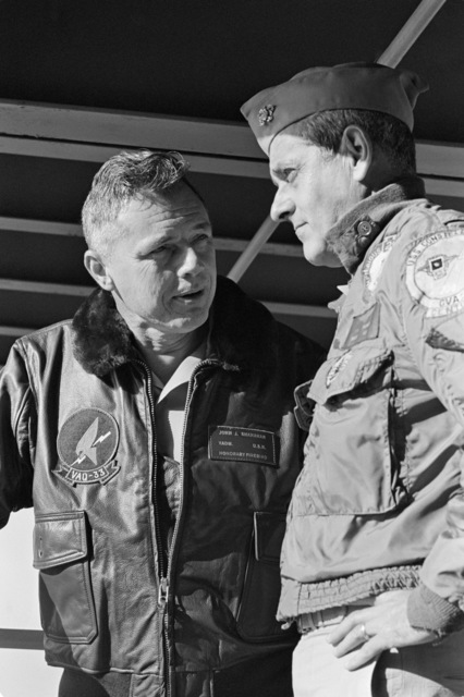 Vice Admiral John J. Shanahan, Commander, US Second Fleet, left, meets with Rear Admiral Frederick F. Palmer, commander, Amphibious Group Two, aboard their flagship, the amphibious command ship USS MOUNT WHITNEY (LCC 20) en route to the allied Exercise TEAM WORK '76. The exercise is scheduled for September 15-24