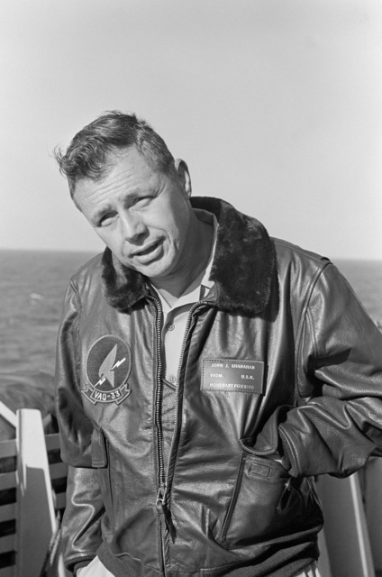 Vice Admiral John J. Shanahan, Commander, US Second Fleet, on the deck of the amphibious command ship USS MOUNT WHITNEY (LCC 20) while en route to participate in the allied Exercise TEAM WORK '76. The MOUNT WHITNEY is serving as flagship during the exercise scheduled for September 15-24