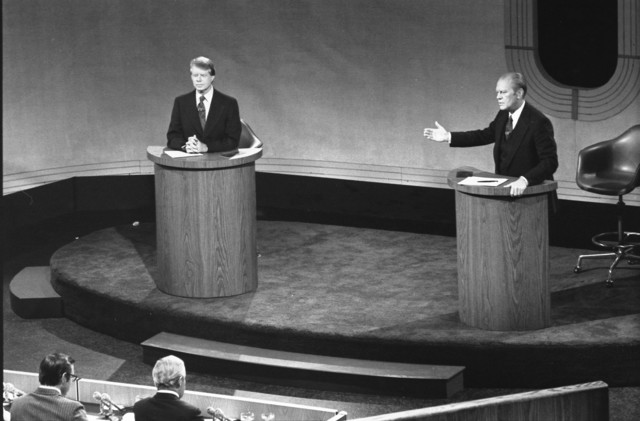 President Gerald Ford and Jimmy Carter Meet at the Walnut Street Theater in Philadelphia to Debate Domestic Policy during the First of the Three Ford-Carter Debates