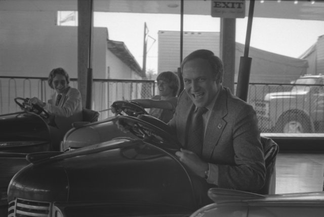 Dick Cheney Driving a Bumper Car at the Texas State Fair