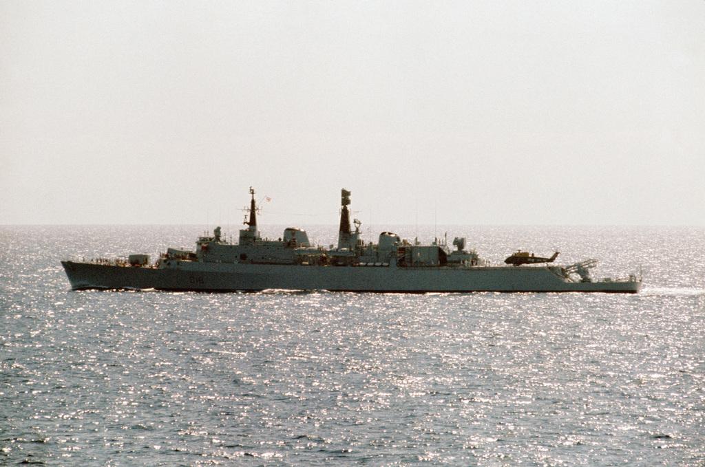 A port beam view of the British light cruiser HMS ANTRIM (D 18) underway during NATO exercise DISPLAY DETERMINATION