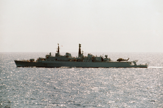 A port beam view of the British light cruiser HMS ANTRIM (D 18) underway during NATO exercise DISPLAY DETERMINATION