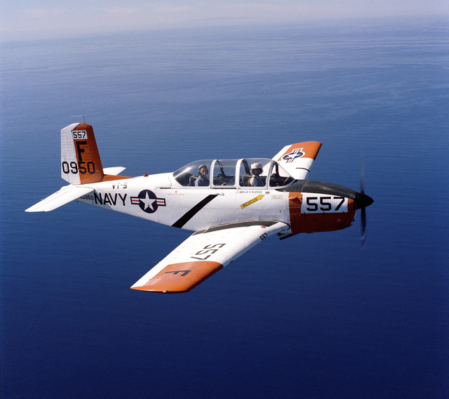 An air-to-air right side view of a T-34 Mentor aircraft from Training Squadron 5 (VT-5)