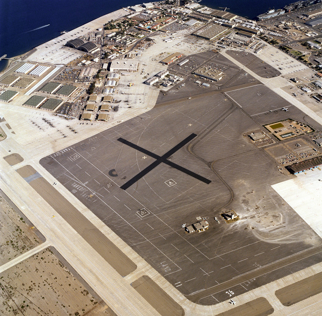 An aerial view of the helicopter landing area at Naval Air Station, North Island