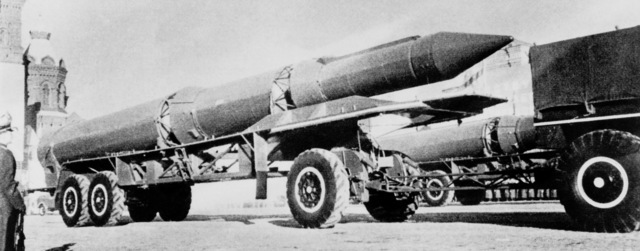 A right side view of a vehicle-mounted Soviet SS-13 Savage intercontinental ballistic missile