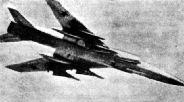 A right underside view of a Soviet Tu-28 Fiddler fighter aircraft in flight. (Substandard image)
