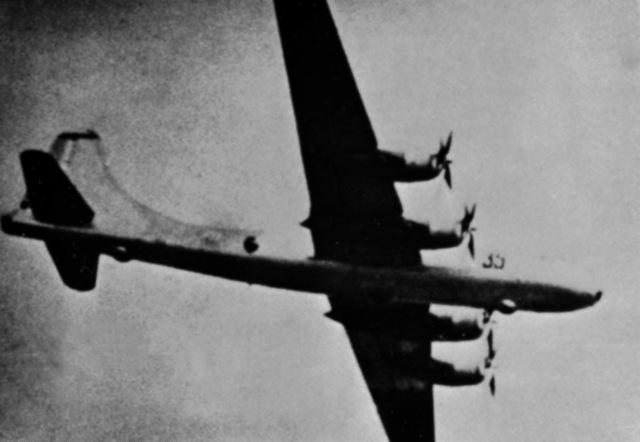 A right underside view of a Soviet Tu-4 Bull bomber aircraft in flight. (Substandard image)