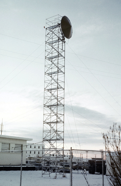 A view of the WACS antenna installation in use during arctic training Exercise JACK FROST 77