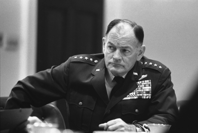Chairman of the Joint Chiefs of Staff General George Brown at a National Security Council Meeting to Discuss the Situation in South Vietnam