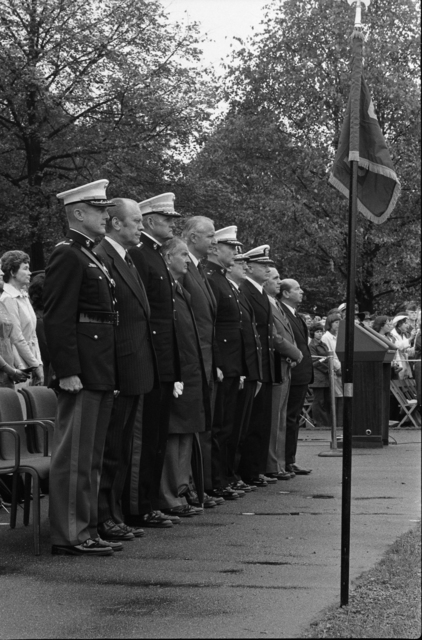 Colonel Wesley Rice, President Gerald R. Ford, General Louis Wilson, William Middendorf, Brigadier General Charles Cooper, Rear Admiral John O'Connor, Captain Leo McDonald, Rene Arthur Gagnon, and Felix de Weldon at the Commemoration of 200th Birthday of the United States Marine Corps at the Iwo Jima Memorial