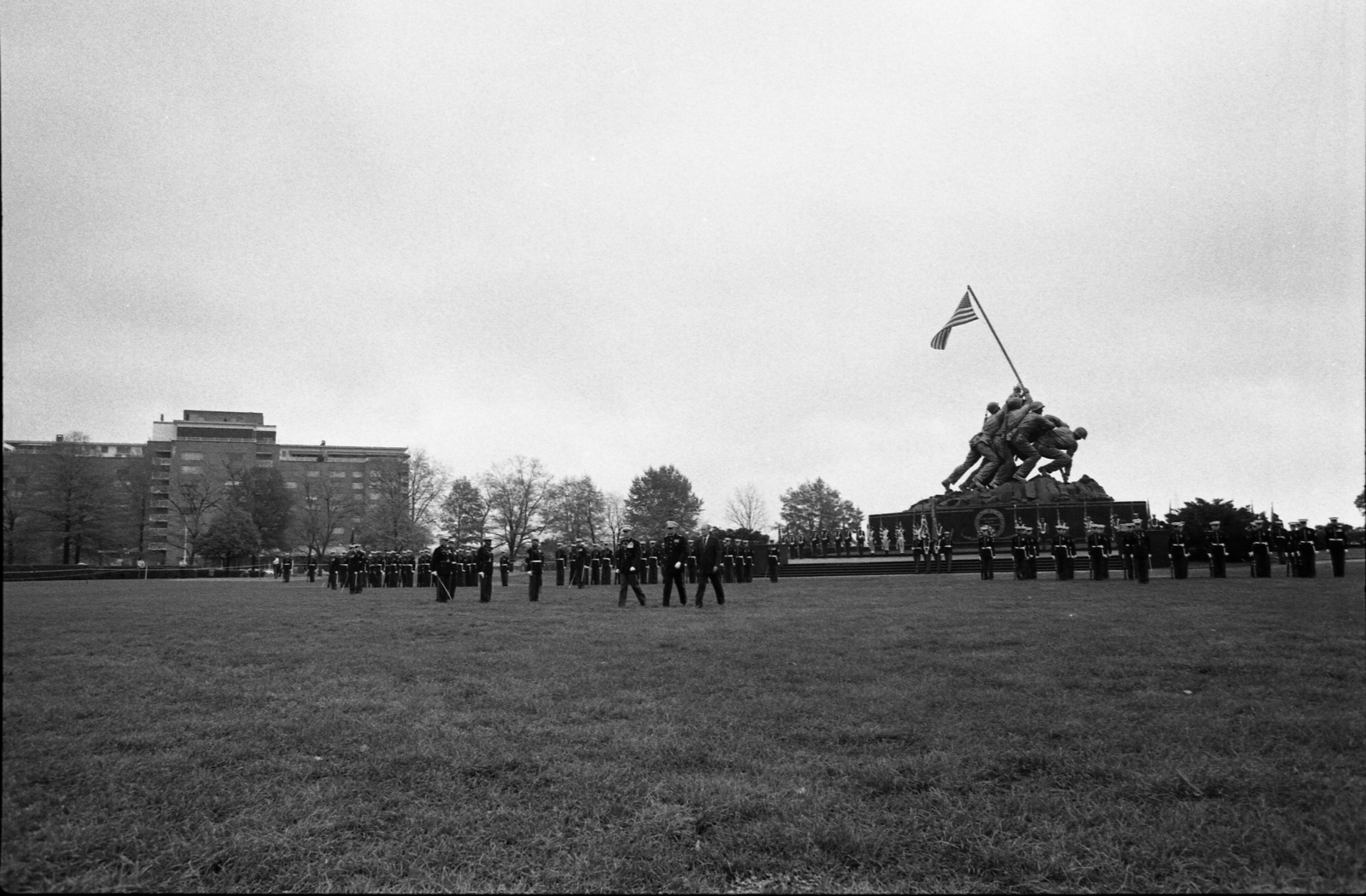 Color Guard and Marines in Parade Formation on the Parade Grounds in Front of the Iwo Jima Memorial at the Commemoration of 200th Birthday of the United States Marine Corps