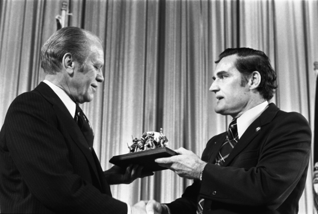 Edward J. King Presenting a Pewter Spirit of '76 Sculpture to President Gerald R. Ford in Boston, Massachusetts