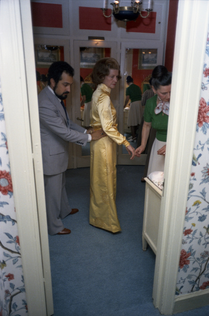 Fashion Designer Albert Capraro Fitting a Gown for First Lady Betty Ford in the Presidential Suite of the Waldorf Astoria Hotel in New York City