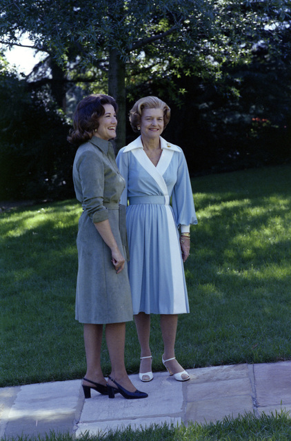 First Lady Betty Ford and Elizabeth Dole Posing for Photographs Outside of the White House