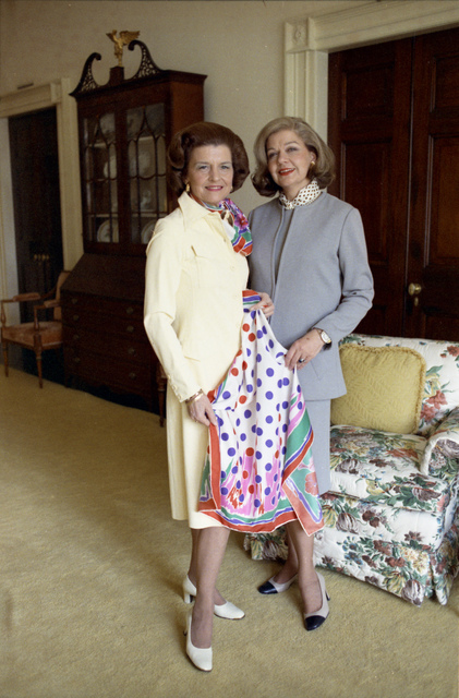 First Lady Betty Ford and Fashion Designer Frankie Welch Holding a Scarf in the West Sitting Room of the White House