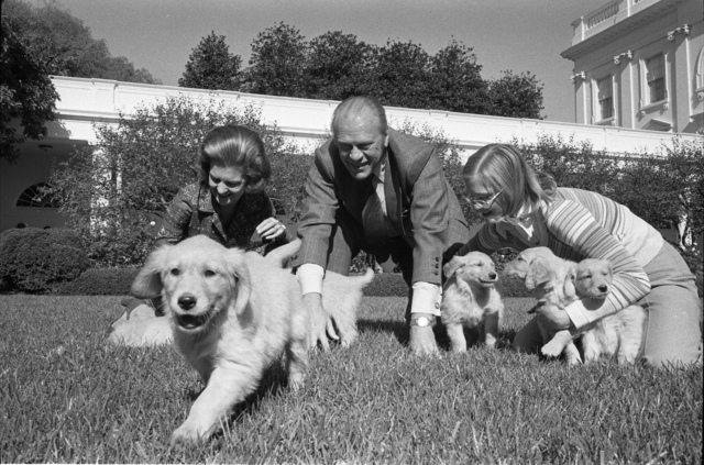 First Lady Betty Ford, President Gerald R. Ford, and Susan Ford Playing with Their Dog Liberty's Puppies in the Rose Garden