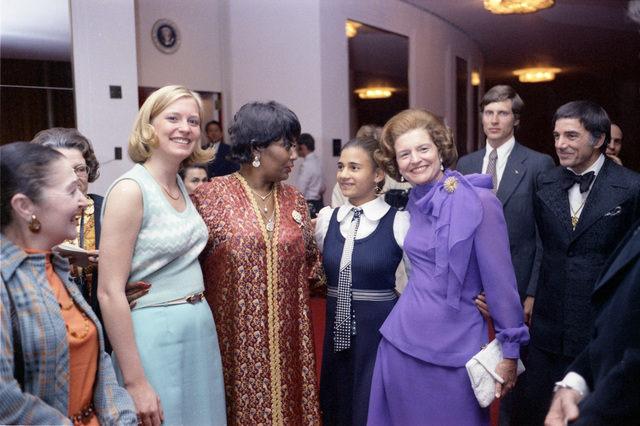 First Lady Betty Ford, Susan Ford, Pearl Bailey, and Others Standing in the Lobby of the John F. Kennedy Center for the Performing Arts