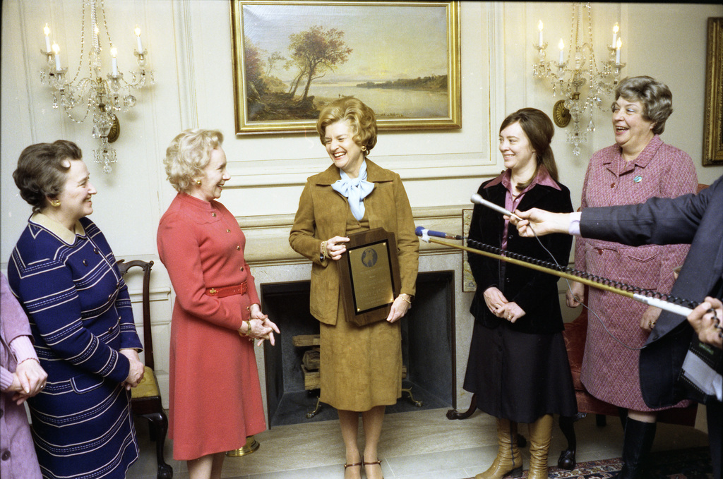 First Lady Betty Ford with Members of the National Women's Party Following the Presentation of the First Alice Paul Award to Mrs. Ford in the Map Room at the White House