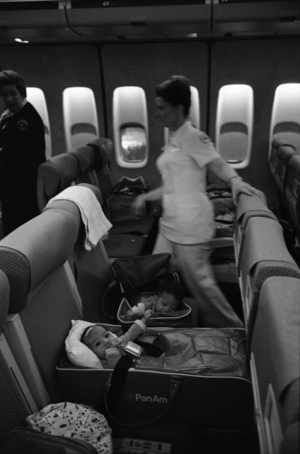 Nurses and Vietnamese Refugee Children on an Operation Babylift Flight Upon its Arrival at San Francisco International Airport